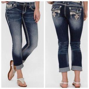 Rock Revival Avery Easy Capri Dark Jeans Sz 27